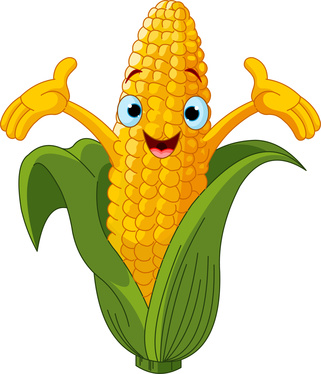 Illustration of a Sweet Corn Character Presenting Something